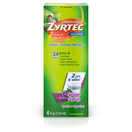 Zyrtec 24 Hr Children's Allergy Relief Syrup, Grape Flavor, 4 fl. Oz