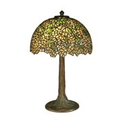 """17"""" Antique Bronze/Verde Wisteria Hand Crafted Glass Tiffany-Style Table Lamp"""