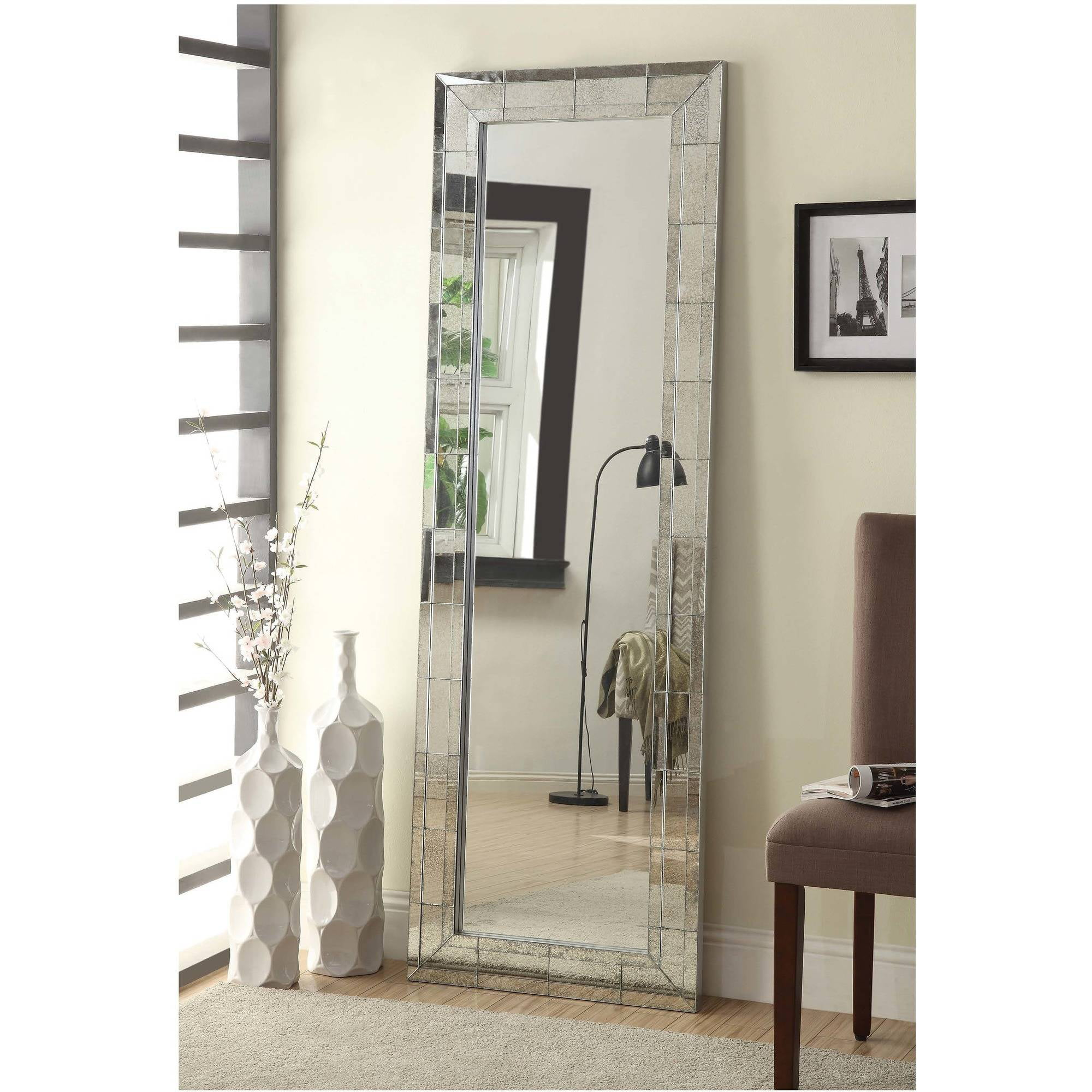 Click here to buy Coaster Company Floor Mirror with Antigue Silver Beveled Edge by Coaster Company.