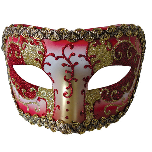Red and Gold Medieval Opera Mask Adult Halloween Accessory