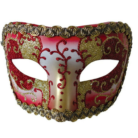 Red and Gold Medieval Opera Mask Adult Halloween Accessory (Medieval Knight Mask)