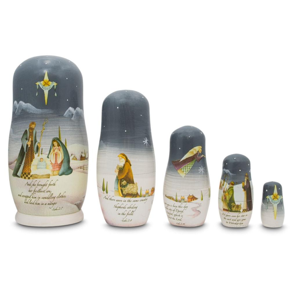 Nativity Scene Set with Bible Verses Wooden Nesting Dolls