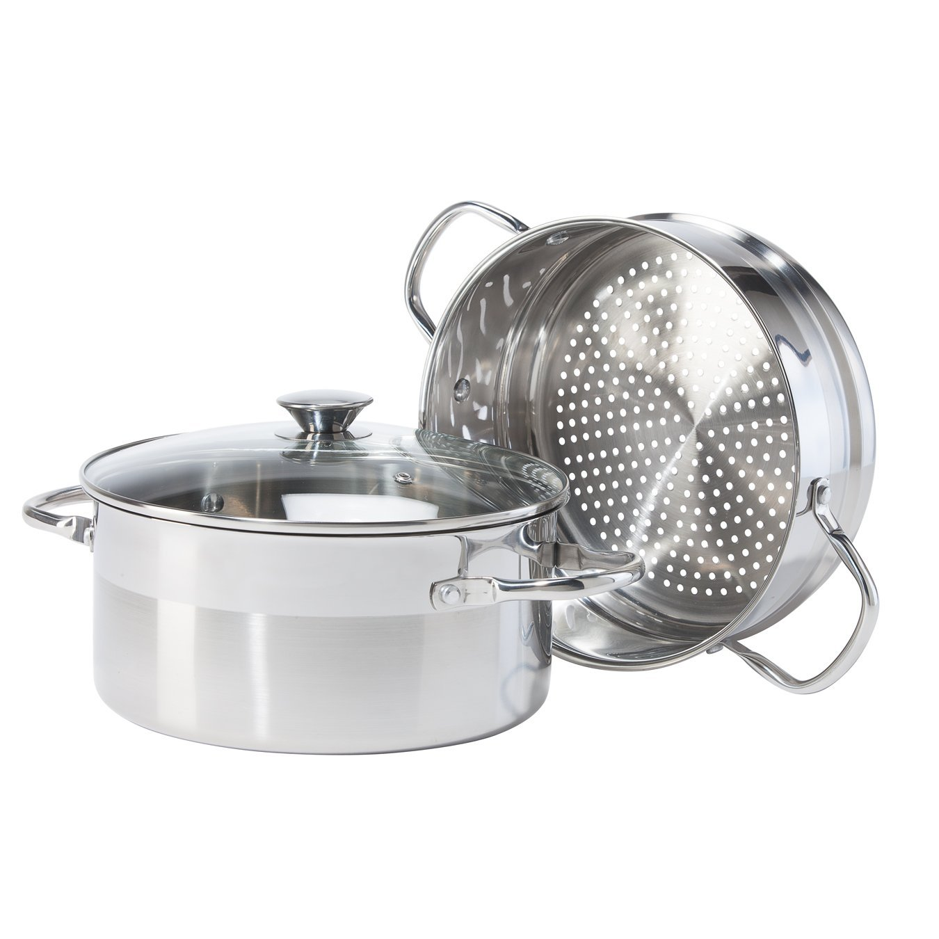 5634 3 Piece Stainless Steel Pro Vegetable Steamer Set, 5 quart, Silver, High quality stainless steel By Oggi