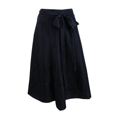 MSK Women's Taffeta Belted A-Line Skirt (Flocked Taffeta Skirt)