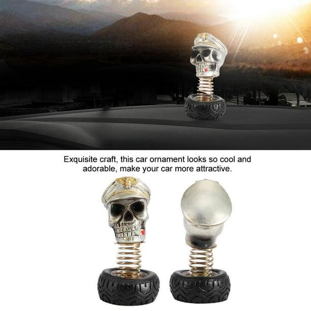 Skull Car Ornament,Car Interior Swing Waving Human Skull Decoration Dashboard Ornament Decor Accessories