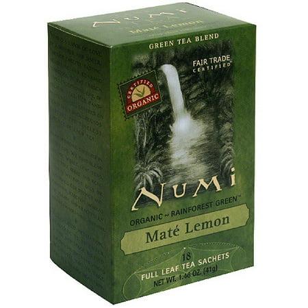 Numi Organic Mate Lemon Tea, 1.46 oz, (Pack of 6)