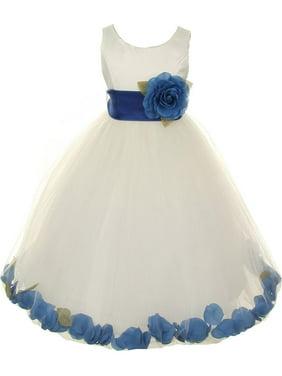 1ef5b8fc8a9 Product Image Girls Ivory Royal Blue Petals Satin Tulle Petal Junior  Bridesmaid Dress 8-14