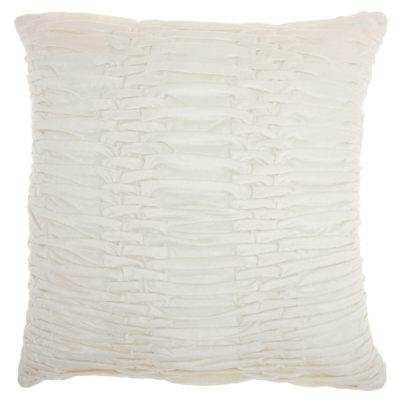 Nourison Life Styles Ruched Velvet Cream Throw Pillow by Nourison