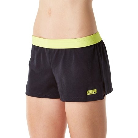 Soffe Juniors The New Low-Rise Shorts, Black/Limeade, XLarge