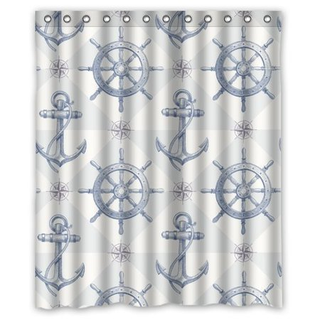 GreenDecor Nautical Anchor Waterproof Shower Curtain Set with Hooks Bathroom Accessories Size 60x72 inches - Nautical Shower Curtain Hooks