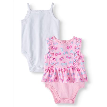 Baby Girls' Solid Cami and Ruffle Peplum Bodysuits, 2-Piece (Girl Custom Made Baby Onesie)