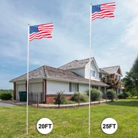 Ktaxon 25ft Sectional FlagPole Kit 16 Gauge Aluminum Flag Pole Free 3'x5' US Flag & Ball Top Kit Fly 2 Flags