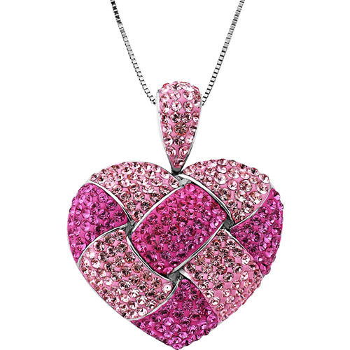 """Sterling Silver Heart Pendant with Pink Swarovski Element, 18"""""""