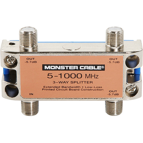 Monster Cable Monster Standard RF Splitters For CATV Signals MKII - 1 Piece 3-Way