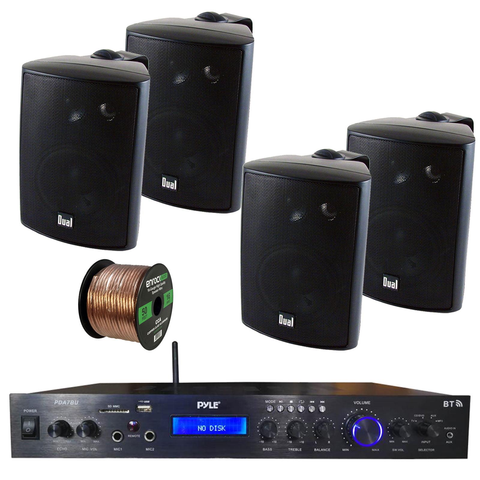 Pyle Home Theater Amplifier Audio Bluetooth MP3/USB/SD/AUX/FM Black Receiver Sound System, with 4x Dual 100 Watt 3 Way Indoor Outdoor Studio White Speakers, Enrock Audio 16-Gauge 50 Foot Speaker Wire