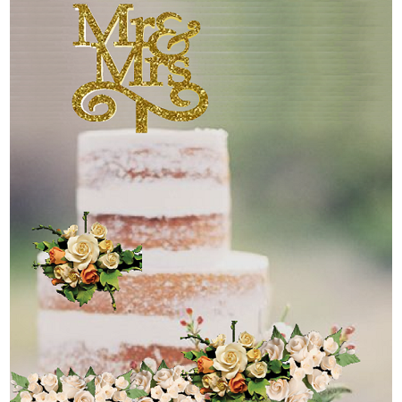Special Occasion Elegant Cake & Cupcake Decoration Topper Glitter Wedding Mr & Mrs (Best Wedding Cake Frosting)