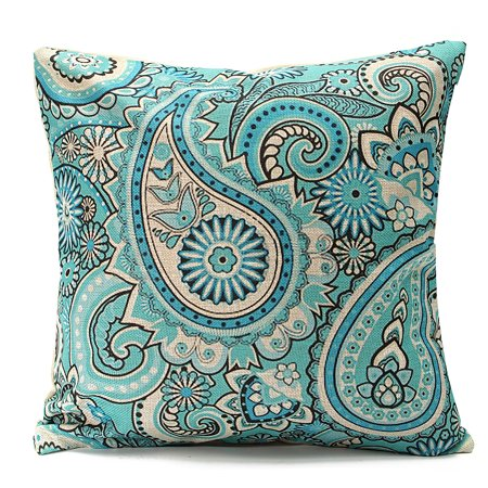 Meigar Bohemia Paisley Vortex Couch Cushion Pillow Covers 18x18 Square Zippered Cotton Linen Standard Decorative Throw Pillow Covers Slip Case Protector for Chair Seat Sofa Patio