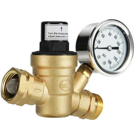 Brass Pressure Regulator - Kohree Water Pressure Regulator Valve, Brass Lead-free Adjustable Water Pressure Reducer w/ Gauge for RV Camper & Inlet Screened Filter