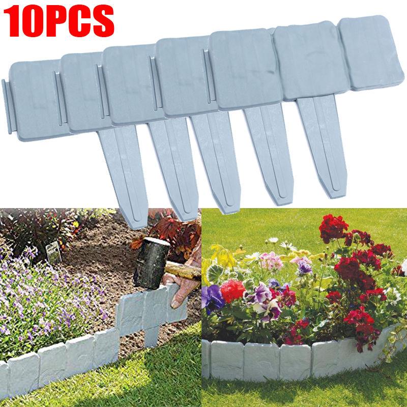 Plastic Garden Edging Border, Estink 10 pcs Grey Cobbled Stone Effect Garden Fence Plant Border-Simply Hammer In