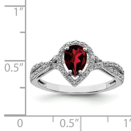 Sterling Silver Rhodium-plated Diamond & Garnet Ring Size 6 - image 2 de 2
