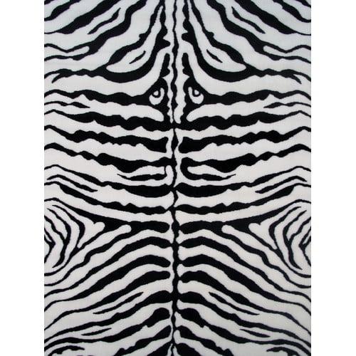 """Fun Rugs Zebra Skin-White 39"""" x 58"""" Print Rug"""