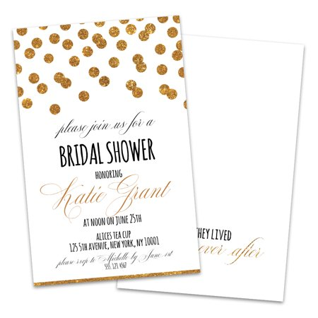 Dot Border Invitation (Personalized Confetti Dots Bridal Shower)