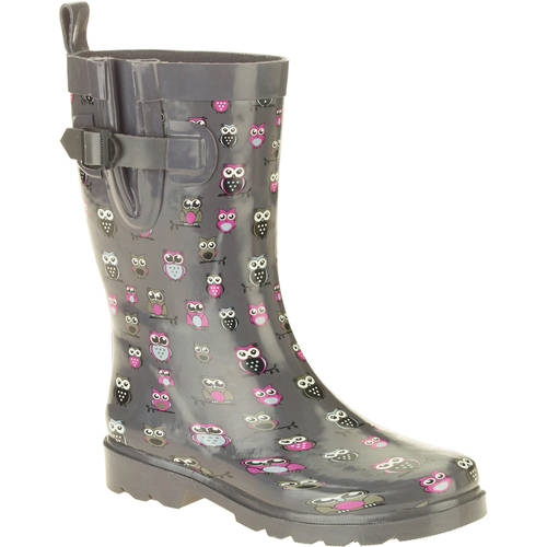 Women's Multi Graphic Owls Printed Mid-Calf Rubber Rain Boots