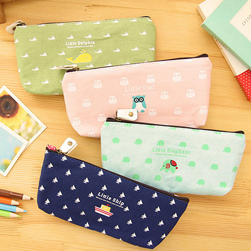 Girl12Queen Students Pen Pencil Case Canvas Bag Cosmetic Makeup Pouch Coin Purse Stationery