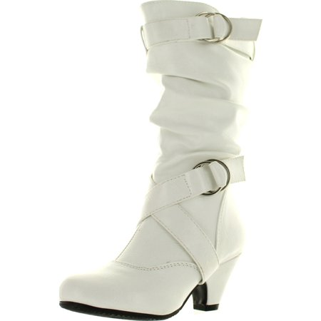 Pauline-39K JR Girls Slouch Buckle High Heel Mid Calf Boots