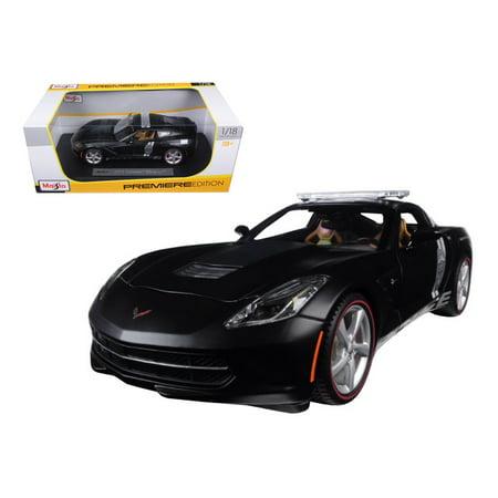 - 2014 Chevrolet Corvette C7 Stingray Police Matt Black 1/18 Diecast Model Car by Maisto
