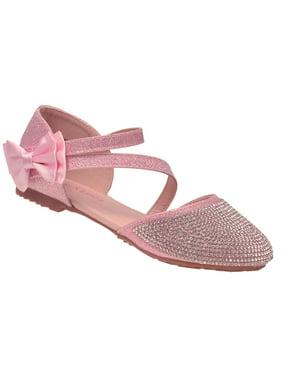 b142dc1bebfe2f Product Image Bella Marie Girls Glitter Pink Diagonal Ankle Strap Bow Flats