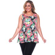White Mark Women's Plus Size Paisley Tank Top Red Paisley Plus Size Tank Top -2XL