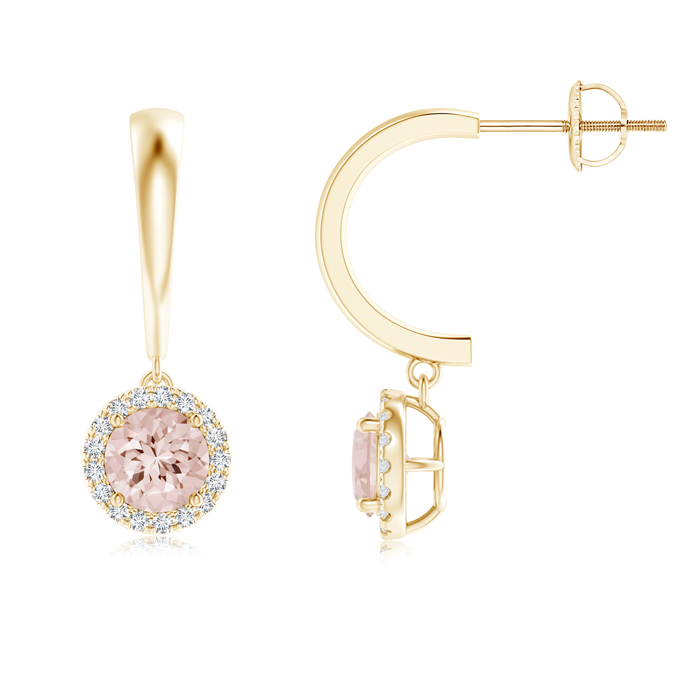 Angara Round Morganite Diamond Halo Dangle Earrings in Yellow Gold OzIUk
