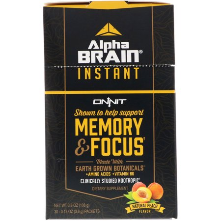 Onnit Alpha Brain Instant Memory Focus Natural Peach 30 Packets 0 13