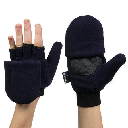 Xcr Womens Mitten - 3M Thinsulate Fleece Pop Top Convertible Fingerless Gloves Mittens Women Kids