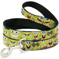 """buckle-down """"spongebob expressions stripe blue"""" dog leash, 6'"""