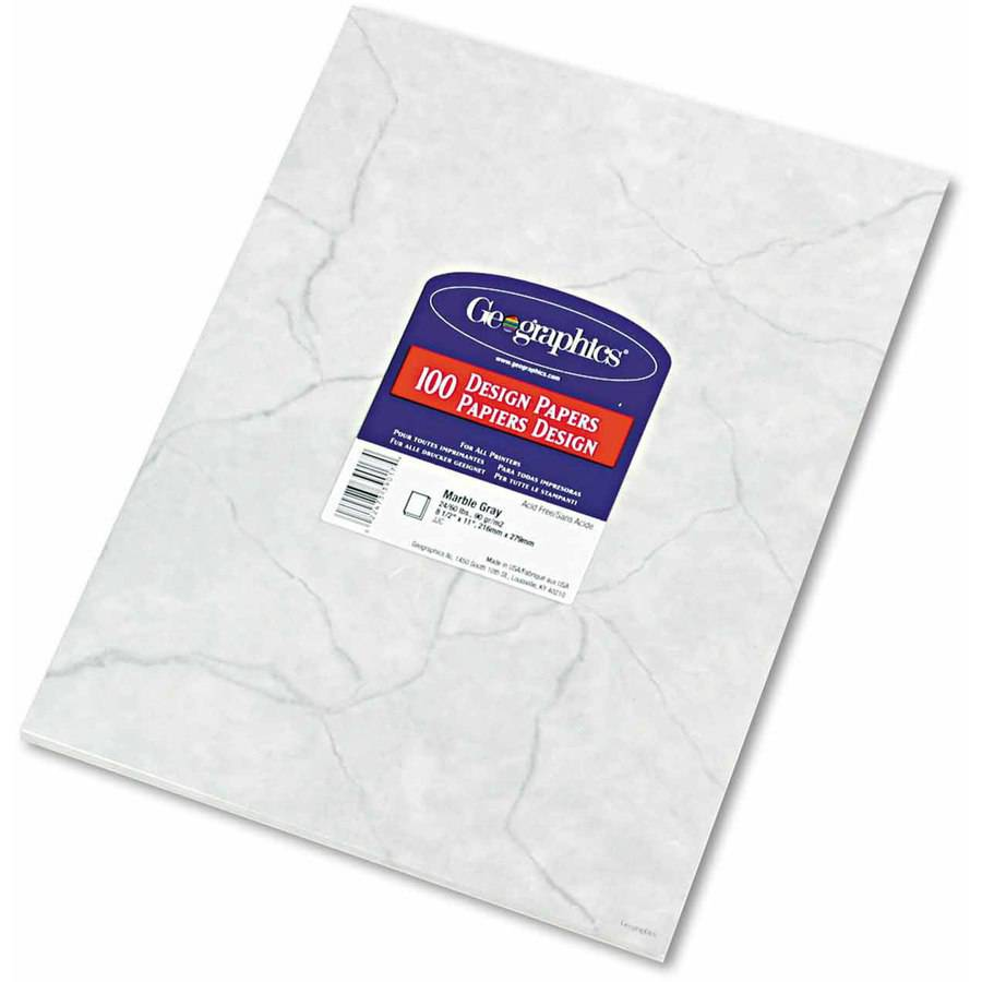 """Geographics Design Paper, 24 Pounds, Marble, 8-1/2"""" x 11"""", Gray, 100/Pack"""