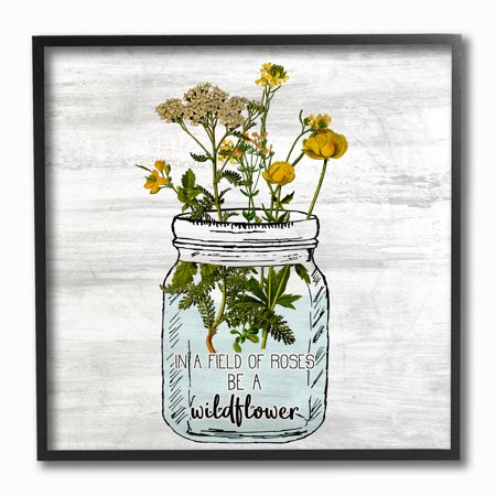 The Stupell Home Decor Be A Wildflower Yellow Flowers in a Mason Jar Framed Texturized - Maison Deco Halloween