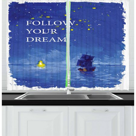 Sailboat Curtains 2 Panels Set, Follow Your Dream Text Ship Sailing Across the Sea Towards Lighthouse, Window Drapes for Living Room Bedroom, 55W X 39L Inches, Cobalt Blue and Yellow, - Cobalt Blue Curtains