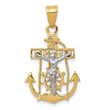 14k Gold Mariners Cross - 14k Yellow Gold Mariners Cross Pendant