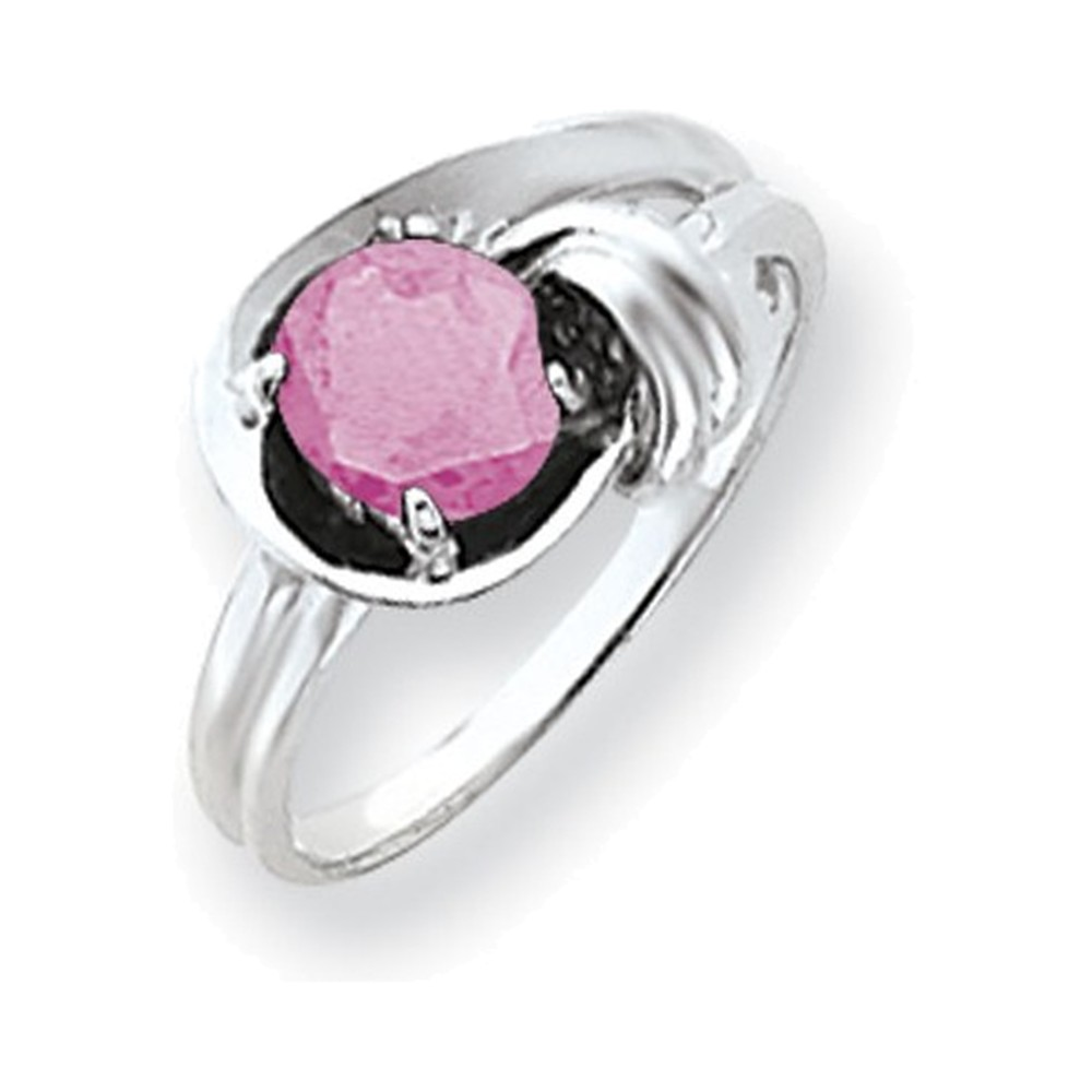14k White Gold 6mm Pink Tourmaline ring by