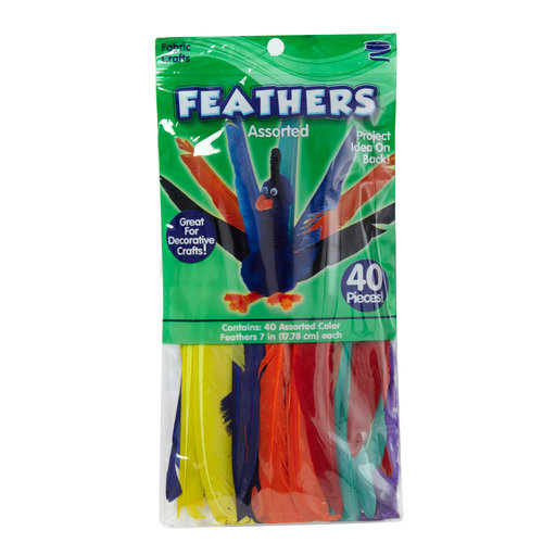 Kids Craft Feathers, Assorted Colors