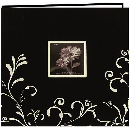"""Scroll Embroidery Fabric Postbound Album With Window, 12"""" x 12"""""""