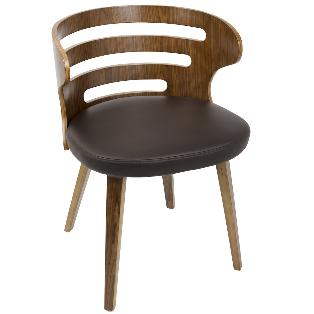 Cosi Mid-Century Modern Chair in Walnut and Brown PU Leather by Lumisource by