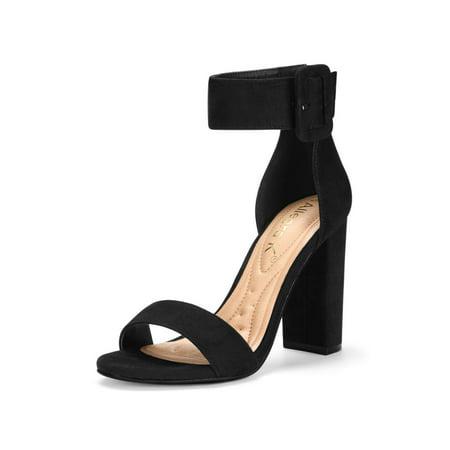 0f651c8ee3893 Unique Bargains Women's Ankle Strap Block High Heel Sandals Black US ...