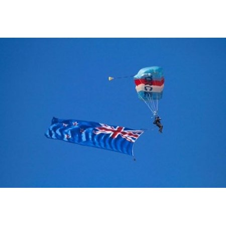 RNZAF Sky Diving New Zealand flag Warbirds over Wanaka South Island New Zealand Canvas Art - David Wall DanitaDelimont (36 x 24)