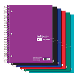 """Office Depot® Brand Wirebound Notebook, 3-Hole Punched, 8 1/2"""" x 11"""", 5 Subjects, College Ruled, 180 Sheets, Assorted Colors (No Color Choice)"""