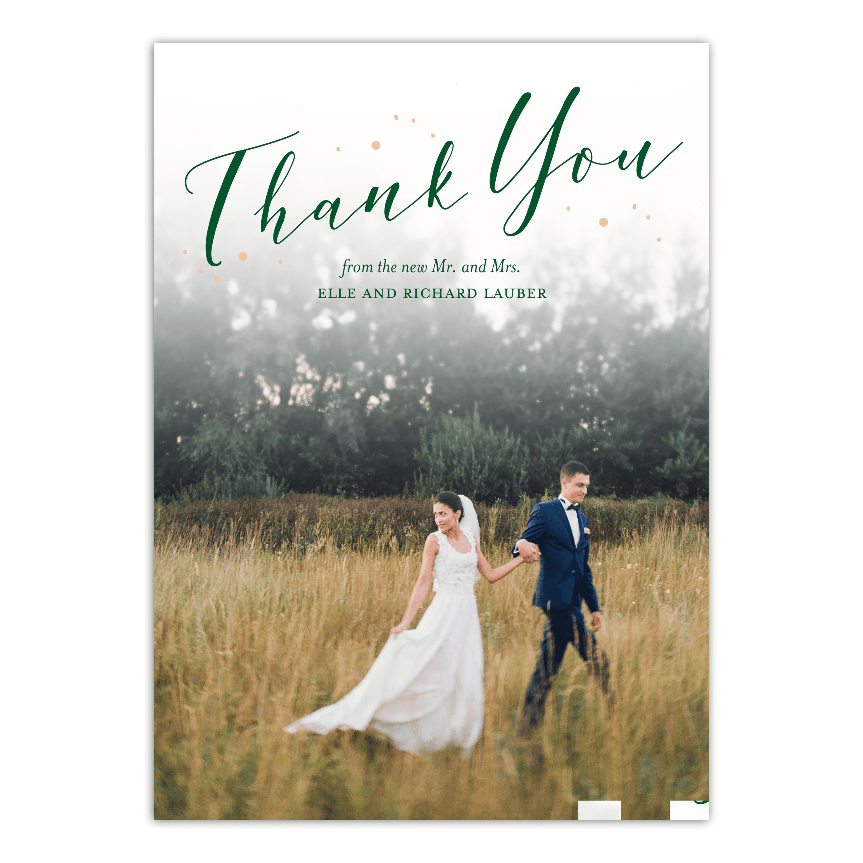 Personalized Wedding Thank You Card Fairytale Flora 5 X 7 Flat