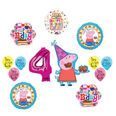 Peppa Pig 4th Birthday Party Balloon supplies and decorations kit - Peppa Pig Birthday Supplies