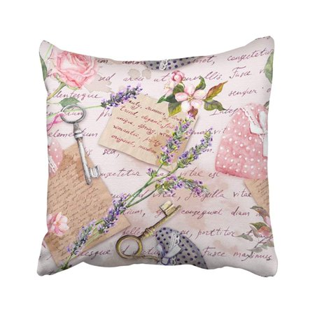 ARTJIA Vintage Aged With Lavender Flowers Hand Written Letters Keys Roses And Pink Hearts Pillowcase Throw Pillow Cover 18x18 inches ()